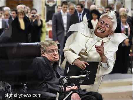 Stephen Hawking mows down Pope Benedict