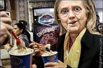 Hillary Clinton eating junk food