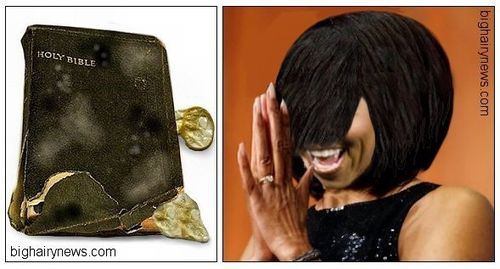 MLK Bible and Michelle Obama hairdo