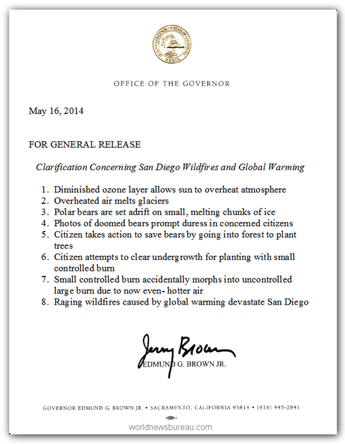 Jerry Brown global warming letter