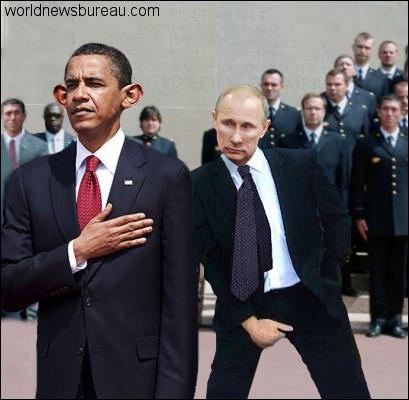 Obama and Putin at Normandy 2014