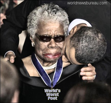 Maya Angelou getting hickey from Obama