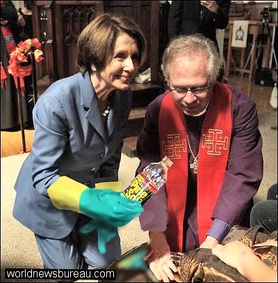 Pelosi washes feet