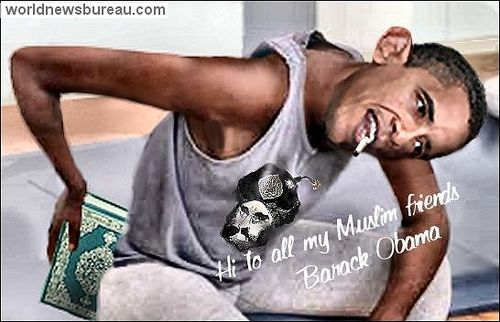 Barack Obama wiping his butt on the Koran
