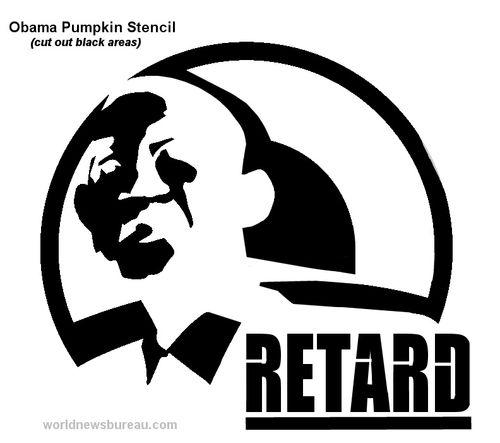 Obama pumpkin stencil