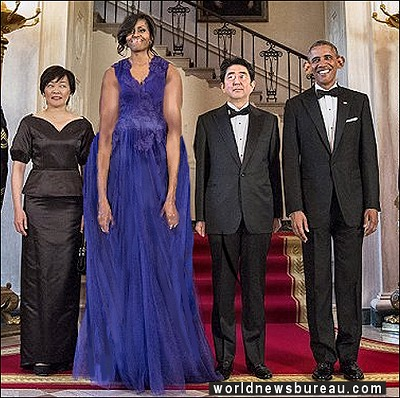Obamas with Japanese Prime Minister
