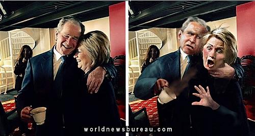 Bush Throws Coffee On Hillary
