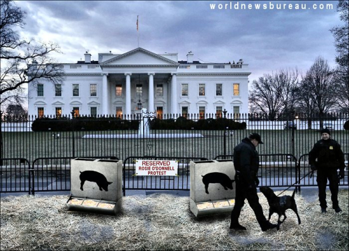 Rosie ODonnell White House protest area
