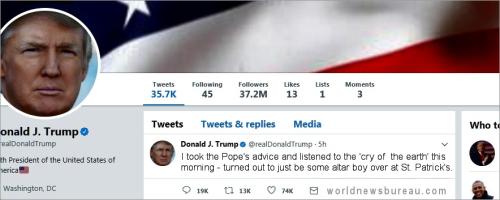 Trump Pope Tweet