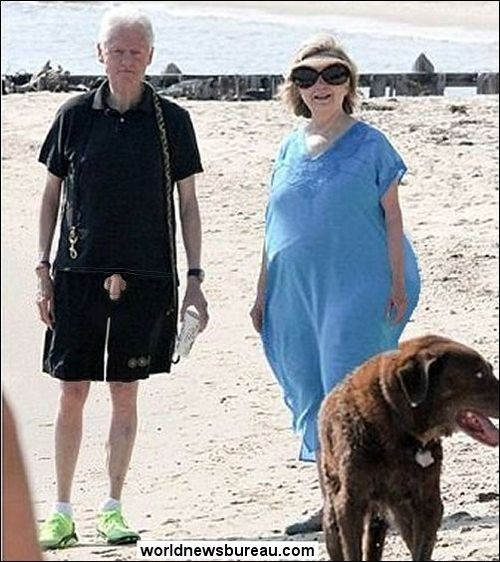The Clintons on the beach