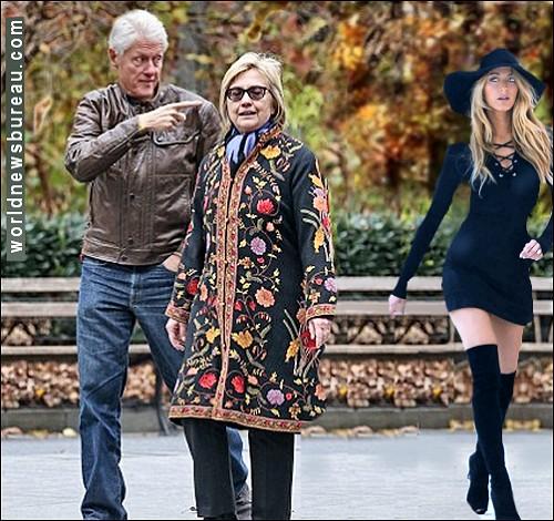 Clintons stroll Manhattan