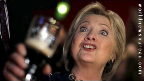 Hillary drinking