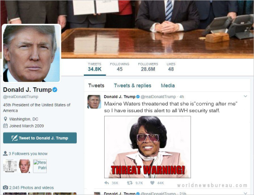 Trump Maxine Waters Threat Warning Tweet