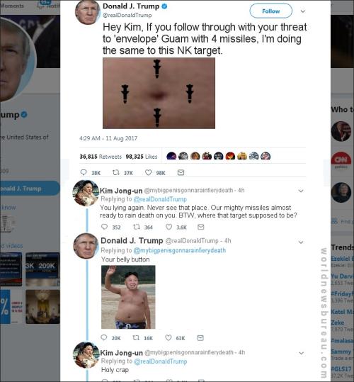 Trump Tweet Threatening Kim Jon-un