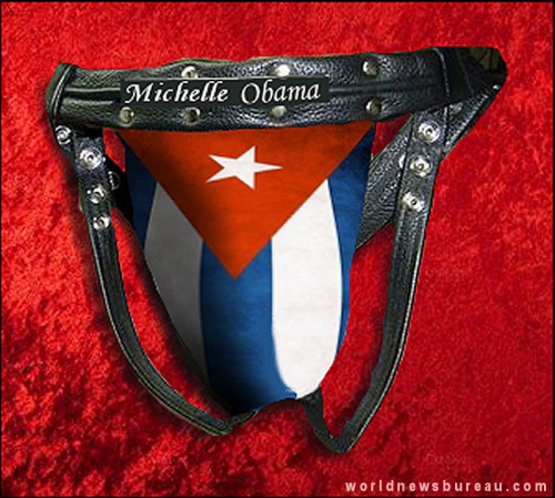 Jock Strap presented to Michelle Obama from Castro