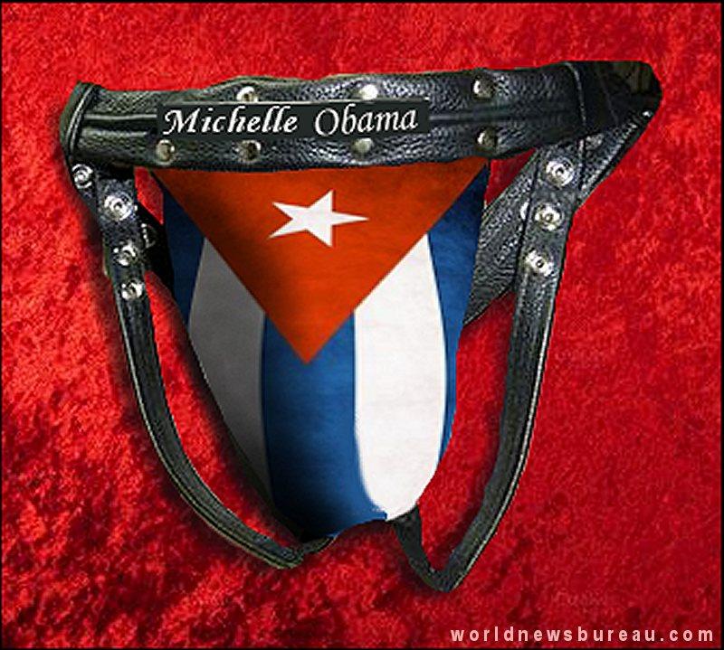 Jock Strap presented to Michelle Obama from Castro