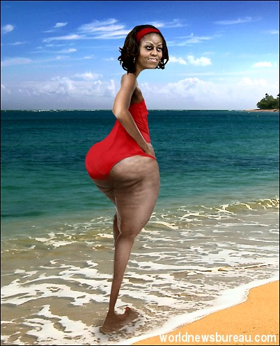 Michelle Obama on beach