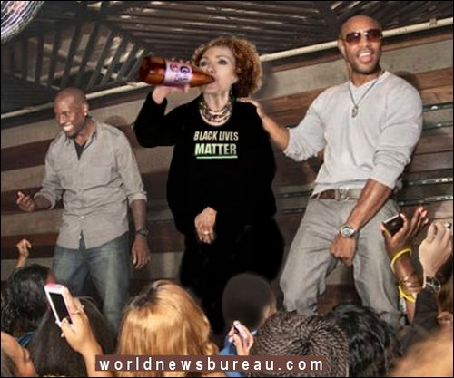 Hillary at black nightclub