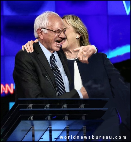 Bernie kissing Hillary