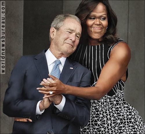GW Bush and Michelle Obama