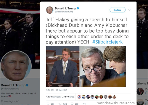 Trump Trolls Flake  Durbin  Klobuchar