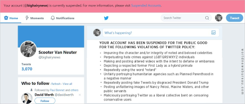 Van Neuter Twitter Suspend Notice