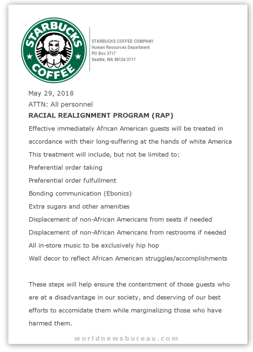 Starbucks Racial Realignment Program