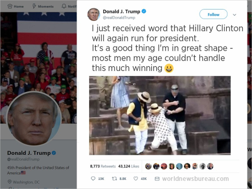 Trump Tweet Hillary Running