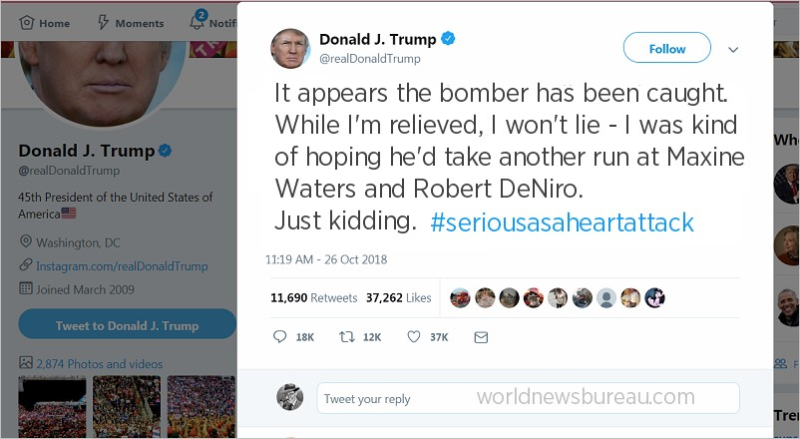 Trump tweet - bomber caught