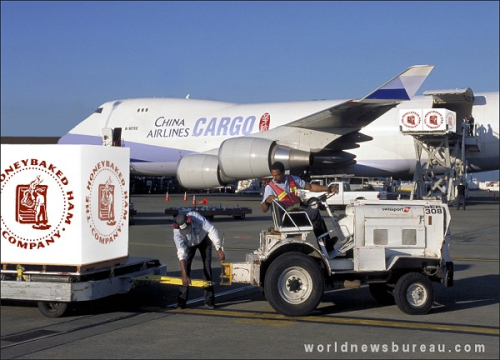 Air China Loading Honey Baked Hams