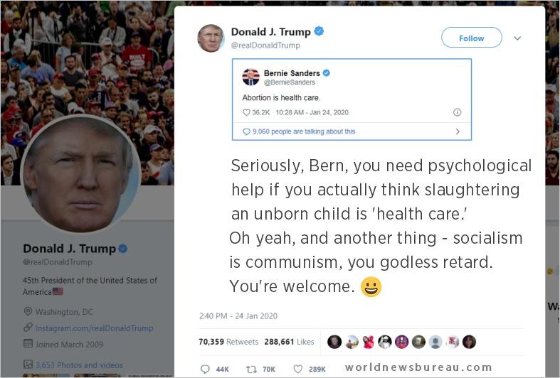 Trump Trolls Bernie