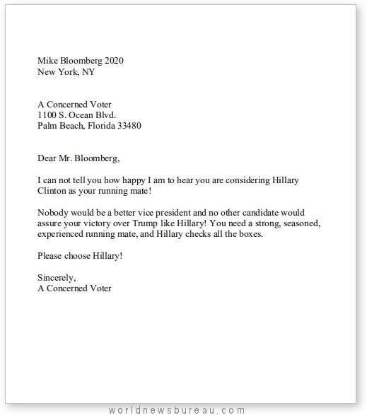 Bloomberg letter