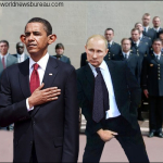 Obama and Putin at Normandy 2014