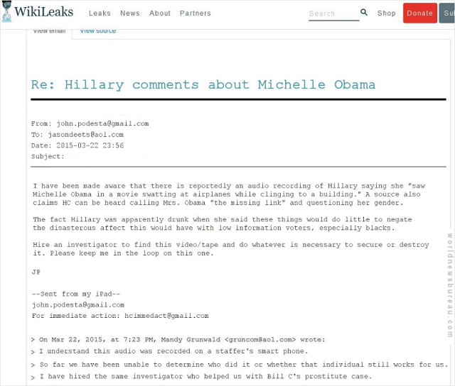 WikiLeaks - Hillary comments about Michelle Obama